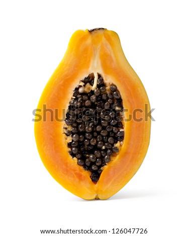 Half cut papaya fruits on white background - stock photo
