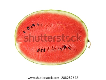 half cut watermelon on white background