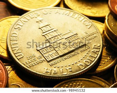 Half dollar coin. Selective focus. - stock photo