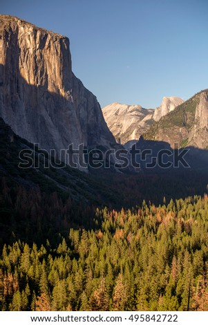 Half Dome and El Capitan in Yosemite National Park