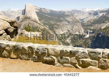 half dome, liberty cap, nevada falls and vernal falls - stock photo