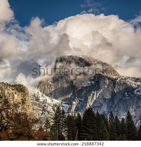 Half dome mountain in yosemite national park in california - stock photo