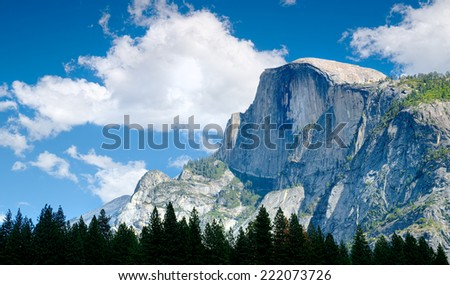 Half Dome Peak in Yosemite National Park, California USA  - stock photo