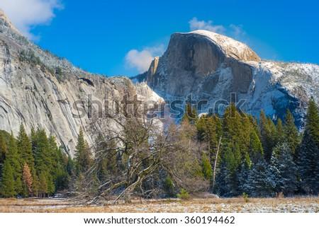 Half Dome Rock , the Landmark of Yosemite National Park - stock photo