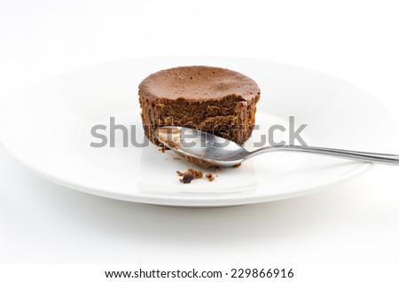 Half eaten delicious chocolate cake muffin with dirty spoon - stock photo