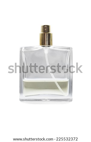 Half empty perfume bottle on white background