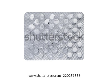 Half empty pills blister isolated over white - stock photo