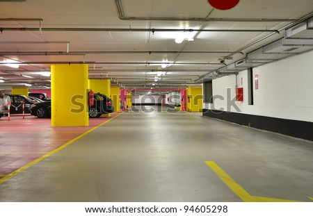 Half empty underground garage or parking - stock photo