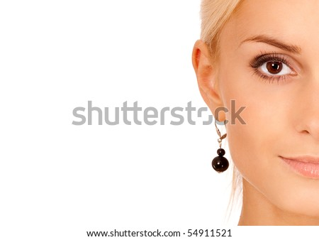 Half face charming fair-haired girl, it is isolated on white background. - stock photo
