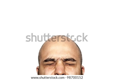 half face closed-eyes expression looking on white background - stock photo