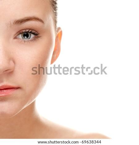 Half face of beautiful woman - stock photo