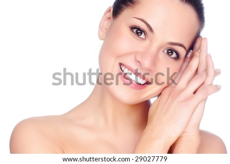 Half face of woman. Isolated on white - stock photo