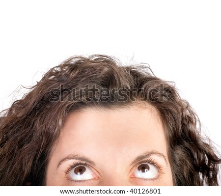 half face of woman looking up isolated on white