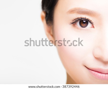half face of young beautiful woman