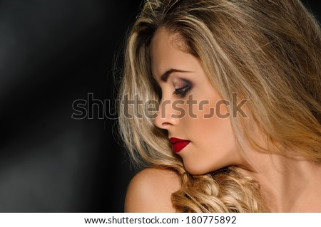 half face portrait - stock photo