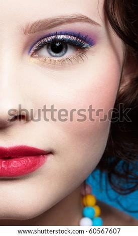 half-face portrait of beautiful girl - stock photo