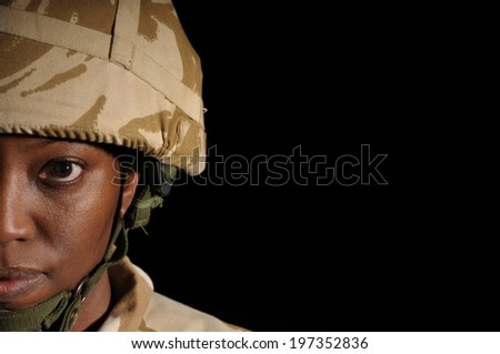 Half Face Portrait Of Black Female Soldier - stock photo