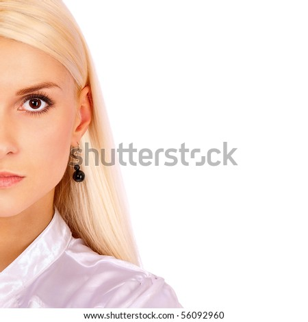 Half face young beautiful woman with quiet sight, it is isolated on white background.