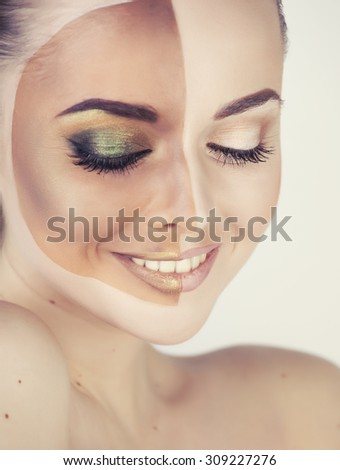 half faced woman before tanning and after close up isolated on white smiling - stock photo
