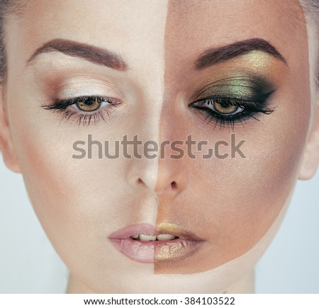 half faced woman before tanning and after, creative make up - stock photo