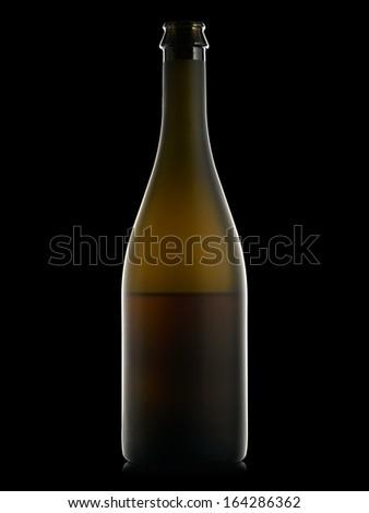 Half full champagne bottle on black background - stock photo