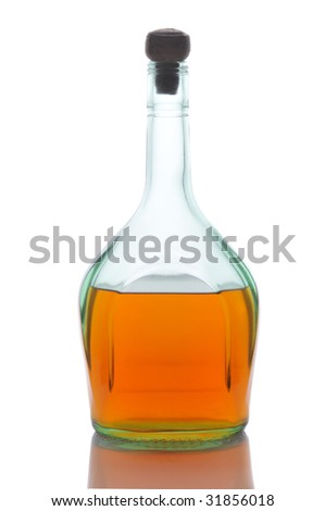 Half Full Whiskey Bottle With Cork isolated on white with reflection - stock photo