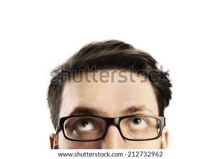 Half head of young man - stock photo