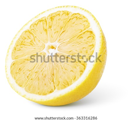 Half lemon citrus fruit isolated on white background - stock photo