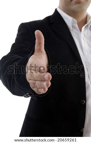 half length of businessman offering handshake on an isolated background - stock photo