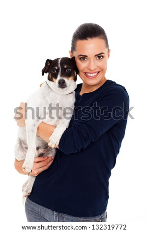 half length of cheerful woman hugging her dog