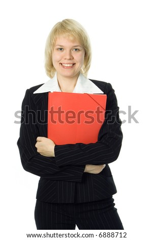 half-length portrait business woman with red folder over white background