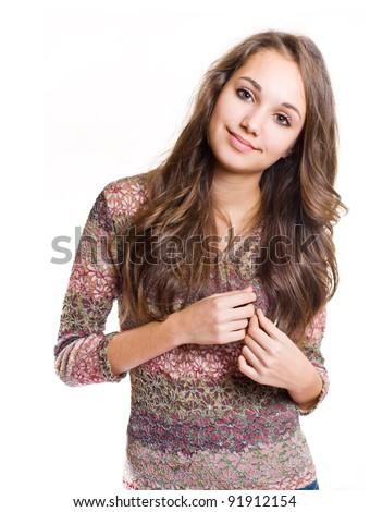 Half length portrait of a beautiful fashionable friendly brunette girl. - stock photo