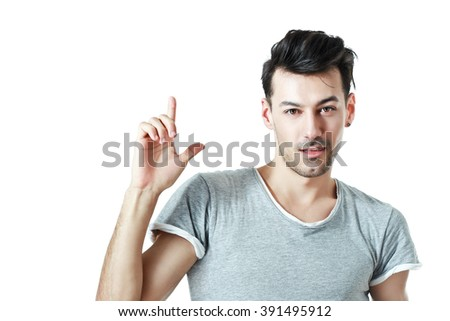 half length  portrait of attractive young man isolated on white background presenting something or have an idea - stock photo