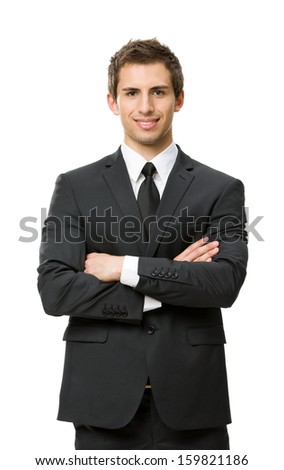 Half-length portrait of businessman with crossed hands, isolated on white. Concept of leadership and success - stock photo