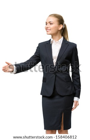 Half-length portrait of businesswoman handshake gesturing, isolated. Concept of leadership and success