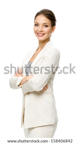 Half-length portrait of businesswoman with hands crossed, isolated on a white. Concept of leadership and success - stock photo