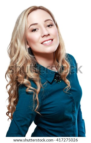 half length portrait of caucasian confident young woman with nice smile isolated on white background - stock photo