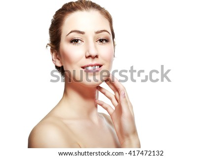 half length portrait of european beautiful young woman smiling with hand near her neck isolated on white background
