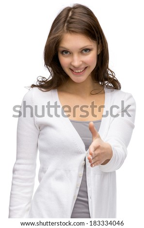 Half-length portrait of girl handshake gesturing, isolated on white. Concept of cooperation and agreement - stock photo