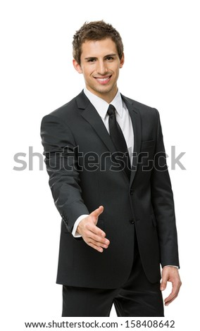 Half-length portrait of handshake gesturing businessman, isolated on white. Concept of leadership and success - stock photo