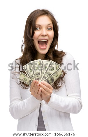 Half-length portrait of happy woman holding cash, isolated on white. Concept of wealth and income - stock photo
