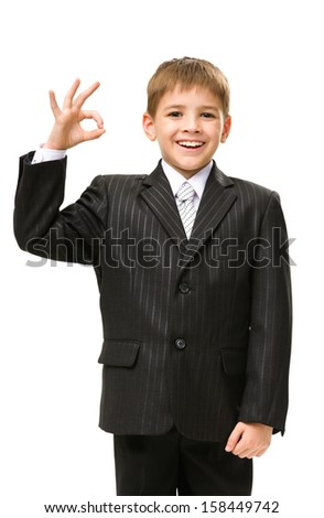 Half-length portrait of little businessman okay gesturing, isolated on white. Concept of leadership and success - stock photo