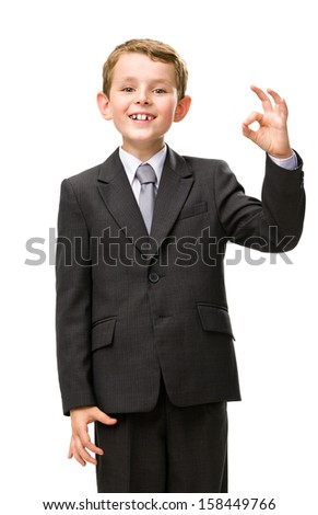 Half-length portrait of little manager okay gesturing, isolated on white. Concept of leadership and success - stock photo