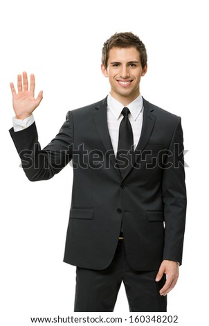 Half-length portrait of waving hand businessman, isolated on white. Concept of leadership and success - stock photo