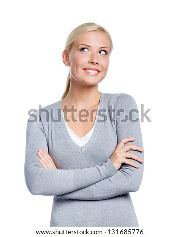 Half-length portrait of woman with arms crossed, isolated on white - stock photo