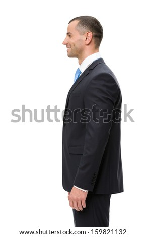 Half-length profile of business man, isolated. Concept of leadership and success