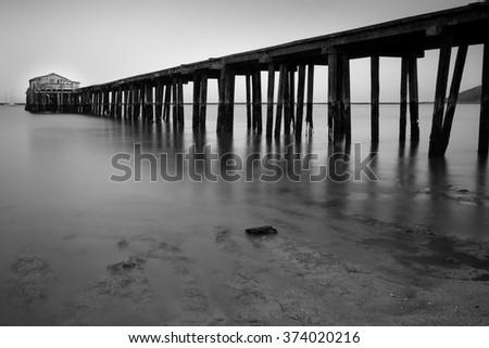 Half Moon Bay Pier, California - stock photo