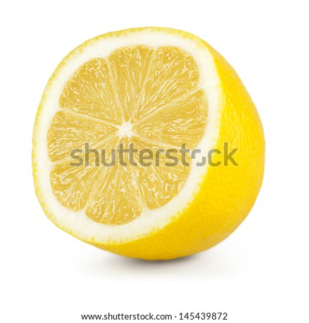 half of a lemon isolated on a white background - stock photo