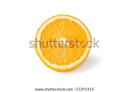 Half of a ripe orange isolated on white.