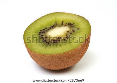 Half of a sliced kiwi, isolated on white. - stock photo